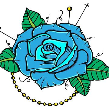 Neo-Traditional Blue Rose de MonJaro