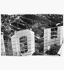 black and white hollywood sign Poster