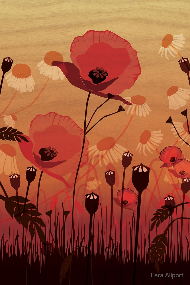 Poppies on woodgrain by Lara Allport