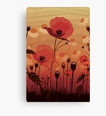 Poppies on woodgrain Canvas Print