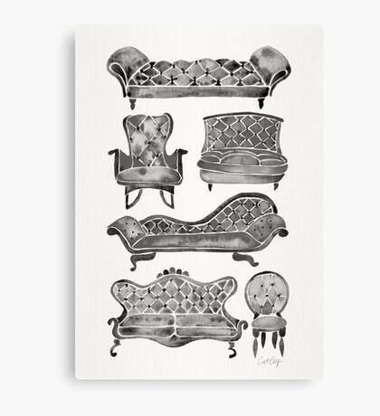 Victorian Lounge – Black Palette Canvas Print