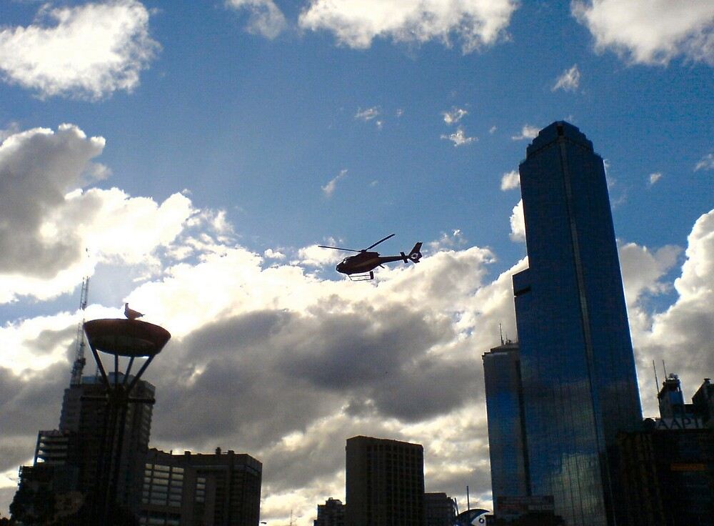 Helicopter over the Yarra by Ameel Khan