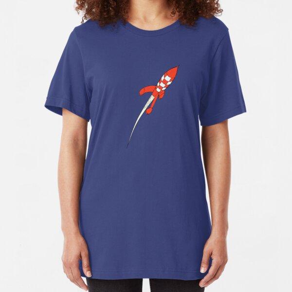 Tintin Destination Moon Rocket Slim Fit T-Shirt