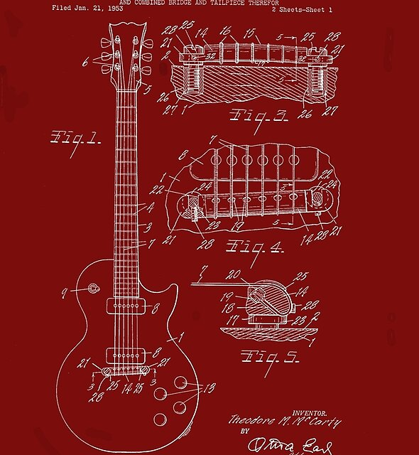 Ted McCarty Guitar Patent-Red by Barry  Jones