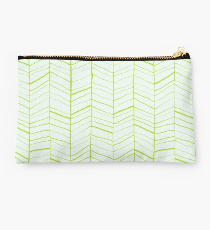 Green and Blue Sketched Pattern Studio Pouch
