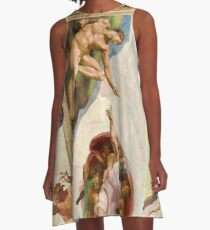 Michelangelo - Creation of Atheist Adam - Close Up - Looking Down on God A-Line Dress