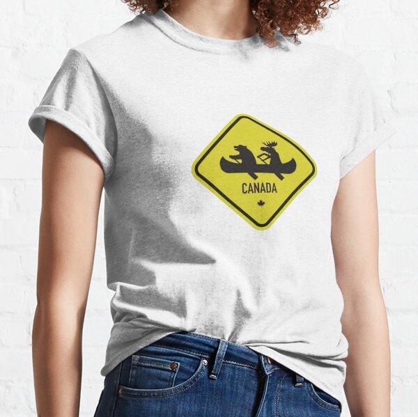 Panneau routier canadien nouveauté Bear & Moose T-shirt classique