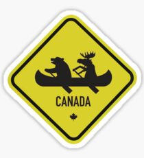 Bear & Moose Novelty Canadian Road Sign Sticker