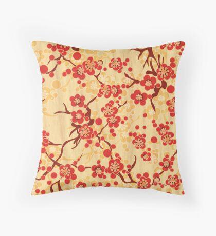 Japanese blossom art vector illustration Throw Pillow