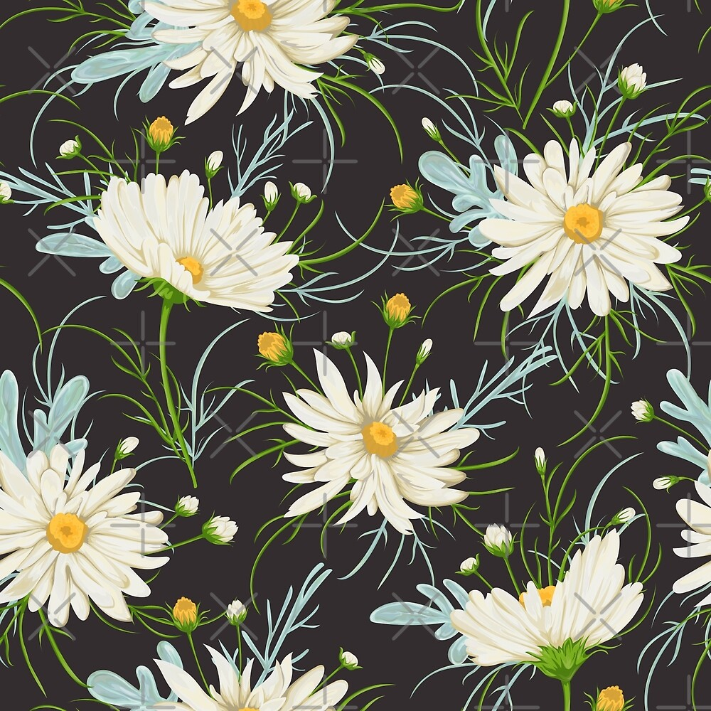 Seamless pattern with white chamomile flowers and sagebrush. Rustic floral background by kateja