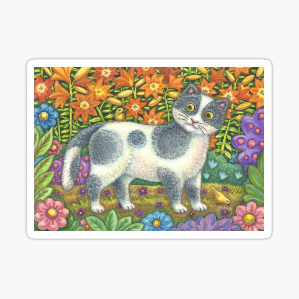 Fuzzy Wuzzy Kitten And Yellow Birds Sticker