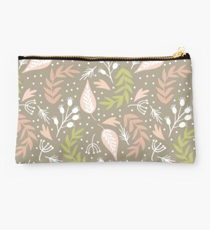 Modern Floral and Leaf Pattern Studio Pouch