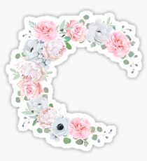 Delicate floral vector round frame with peony, rose, camellia, anemone, eucalyptus, brunia on white. Pink and white flowers. Half moon shape bouquet. All elements are isolated and editable. Sticker