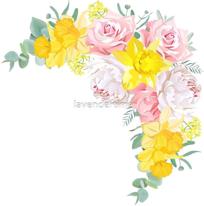 Happy bright floral vector frame with peony rose narcissus happy bright floral vector frame with peony rose narcissus carnation eucalyptus on mightylinksfo Gallery