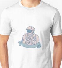 Astronaut Bust Ribbon Drawing T-Shirt