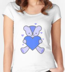 Bear Love Heart Blue Valentine Sweet Couple Gift Women's Fitted Scoop T-Shirt