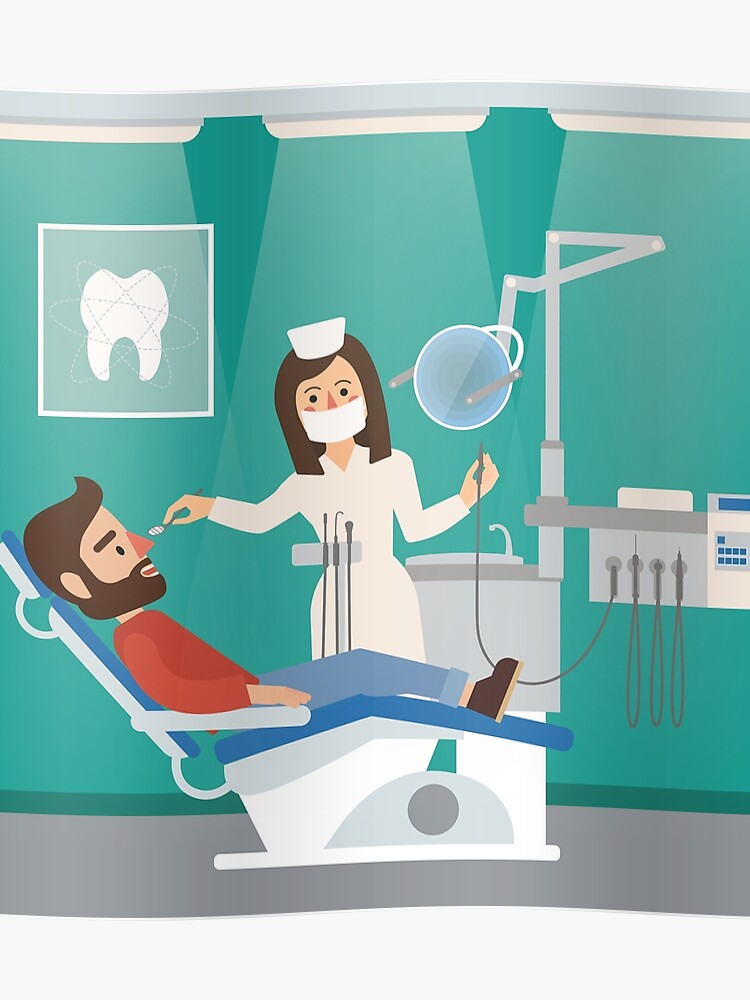 Dentist Cabinet Interior with Doctor, Patient, Dental Tools and Chair |  Poster