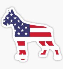 Dog Boxer American Flag Sticker
