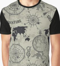 "Seamless pattern with vintage globe, compass, world map and wind rose. Retro hand drawn vector illustration ""Great adventure"" in sketch style on grunge background Graphic T-Shirt"