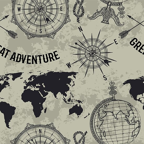 Seamless Pattern With Vintage Globe Compass World Map And Wind