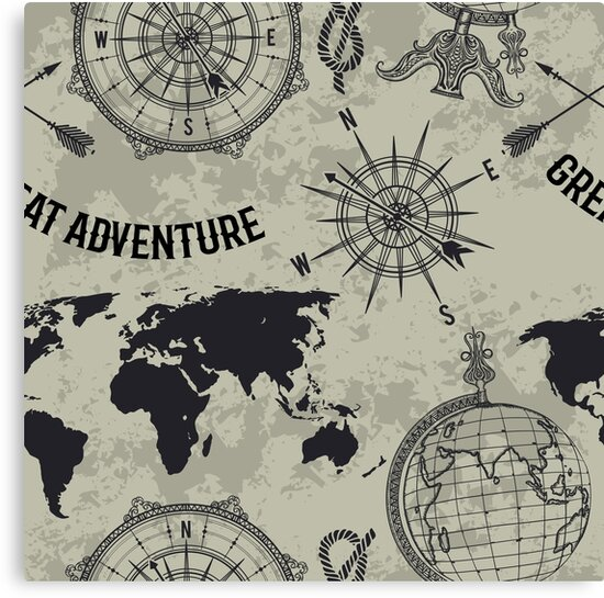 Seamless pattern with vintage globe compass world map and wind seamless pattern with vintage globe compass world map and wind rose retro hand drawn vector illustration great adventure in sketch style on grunge gumiabroncs Gallery