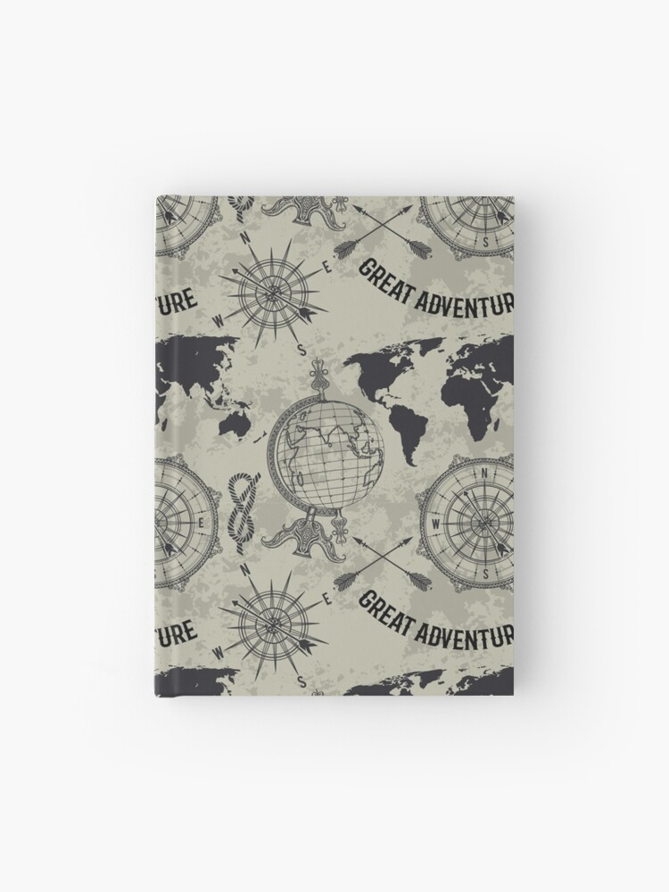 Seamless pattern with vintage globe, compass, world map and wind rose.  Retro hand drawn vector illustration \