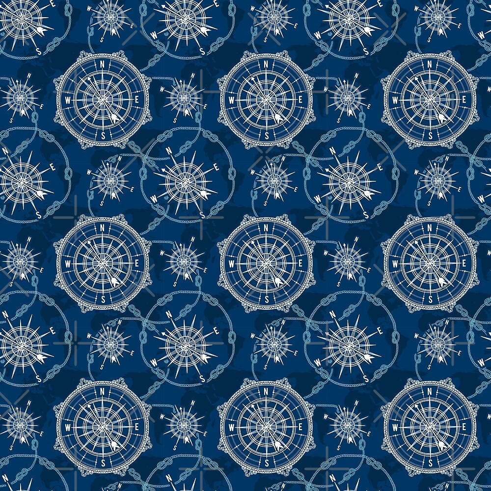 Seamless pattern with vintage compass, world map, wind rose and rope knot. Nautical background. by kateja