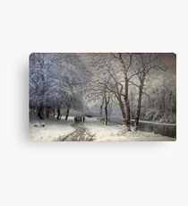 Anders Andersen - Lundby - A Winter Landscape With Horses And Carts By A River Canvas Print