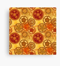 Vintage seamless pattern with gears of clockwork on aged paper background.  Canvas Print
