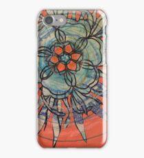 Orange and blue flower  iPhone Case/Skin