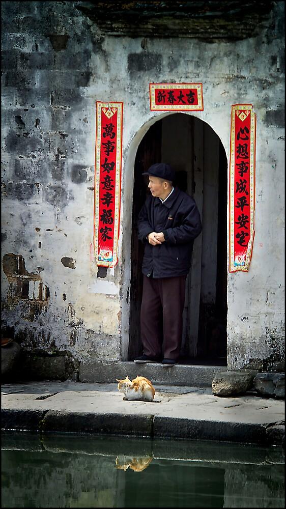 Old man & cat, Hongcun, China 2006 by John Tozer