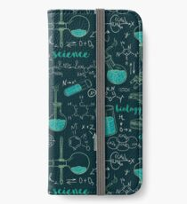 Vintage seamless pattern old chemistry laboratory with microscope, tubes and formulas. iPhone Wallet/Case/Skin
