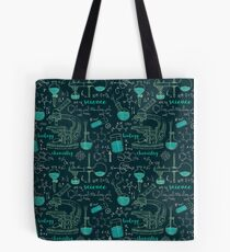 Vintage seamless pattern old chemistry laboratory with microscope, tubes and formulas. Tote Bag