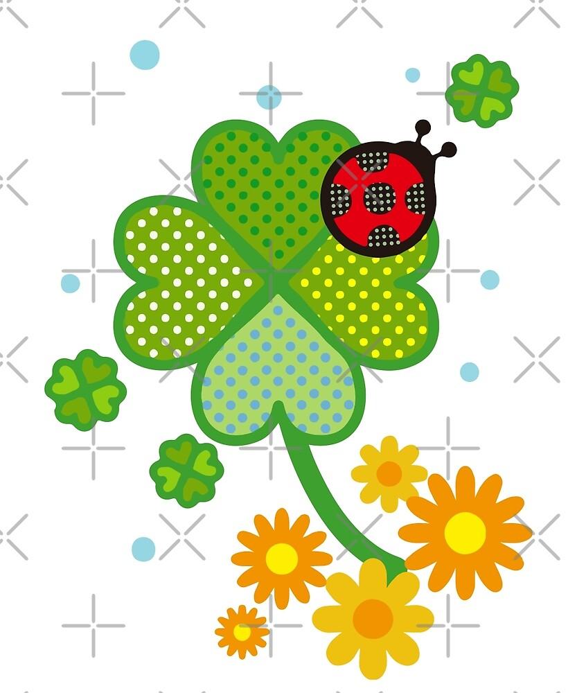 Cute Clover St. Patrick Flowers Fun Art Gift  by JapaneseInkArt