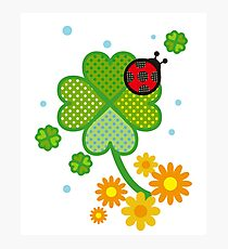 Cute Clover St. Patrick Flowers Fun Art Gift  Photographic Print