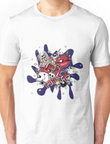 Crazy punk rock abstract background.  Unisex T-Shirt