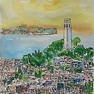 San Francisco Dusk Sunset Over Coit Tower And Alcatraz Telegraph Hill by artshop77