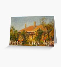 COTTAGE WITH WHITE FENCE Greeting Card