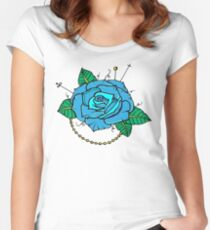 Neo-Traditional Blue Rose Women's Fitted Scoop T-Shirt