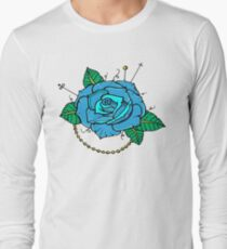 Neo-Traditional Blue Rose Long Sleeve T-Shirt
