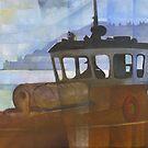 Tug and Dartmouth Castle by Bernard Barnes