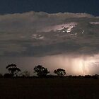 Closeup of lightning across southern Yorke Peninsula, South Australia by Craig Watson