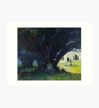 Lupton House Ancient Yew Trees Art Print