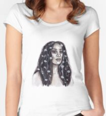 Solange Knowles watercolour painting Women's Fitted Scoop T-Shirt
