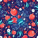 Seamless bright pattern pomegranates by Tanor
