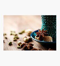Authentic blue dishware, masala tea Photographic Print