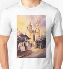 Mission Dolores- San Francisco.  Watercolor painting T-Shirt