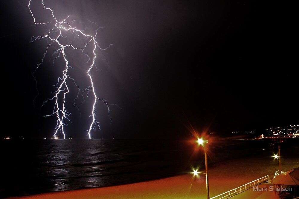 Bar Beach Lightning by Mark Snelson