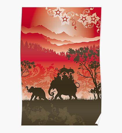 Indian Elephants and monkeys Poster
