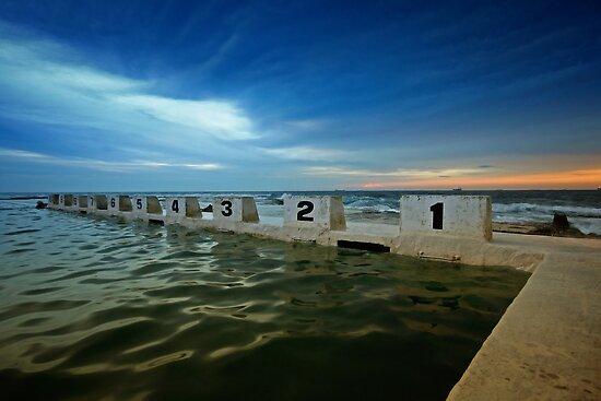 Merewether Ocean Baths at Dusk 2 by Mark Snelson